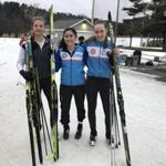 From left: Concord-Carlisle's Phoebe Meyerson, Lincoln-Sudbury's Laura Appleby, and Brookline's Eva Baumann are close friends, not rivals, at the Weston Ski Track.