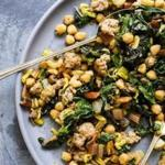 Garlicky Chard and Sausage With Fried Chickpeas