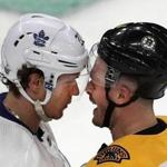Boston-04/13/2019 Boston Bruins vs Toronto Maple Leafs- Playoffs game 2 -Bruins Chris Wagner and Leafs Nikita Zaitsev get into a little closeup confrontation in front of the Leafs net in the 2nd period. Photo by John Tlumacki/Globe Staff(sports)