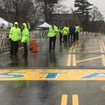 Officials at the Marathon start line Monday, April 15, 2019. (Pat Greenhouse/Globe Staff)