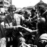 Boston, MA - 5/14/1974: Boston Celtics' John Havlicek greets fans in the motorcade during the Celtics 1974 NBA Championship celebration at Boston's City Hall Plaza on May 14, 1974. (Boston Globe Archive) --- BGPA Reference: 180628_BS_006