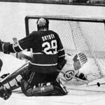 Stan Jonathan ends up behind Canadiens goaltender Ken Dryden during Game 6 of the 1979 Stanley Cup semifinals.