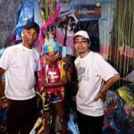 Singer-producer Pharrell Williams (left) and contemporary artist Mr. launched