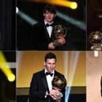 (COMBO) This combination of file photographs created on December 3, 2019, shows Barcelona's Argentinian forward Lionel Messi reacting as he receives the Ballon d'or Football Trophy (from top L to down R) for the year 2009 in Boulogne-Billancourt, outside Paris, on December 6, 2009; for the year 2010 in Zurich, on January 10, 2011; for the year 2011 in Zurich on January 9, 2012; for the year 2012 in Zurich on January 7, 2013; for the year 2015 in Zurich on January 11, 2016 and for the year 2019 in Paris on December 2, 2019. - Lionel Messi won a record-breaking sixth Ballon d'Or on December 2, 2019. (Photos by AFP) (Photo by FRANCK FIFE,FABRICE COFFRINI,OLIVIER MORIN,FRED DUFOUR/AFP via Getty Images)