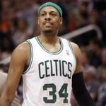 Boston Celtics' Paul Pierce during a timeout against the Phoenix Suns in an NBA basketball game Friday, Feb. 22, 2013, in Phoenix. (AP Photo/Paul Connors)