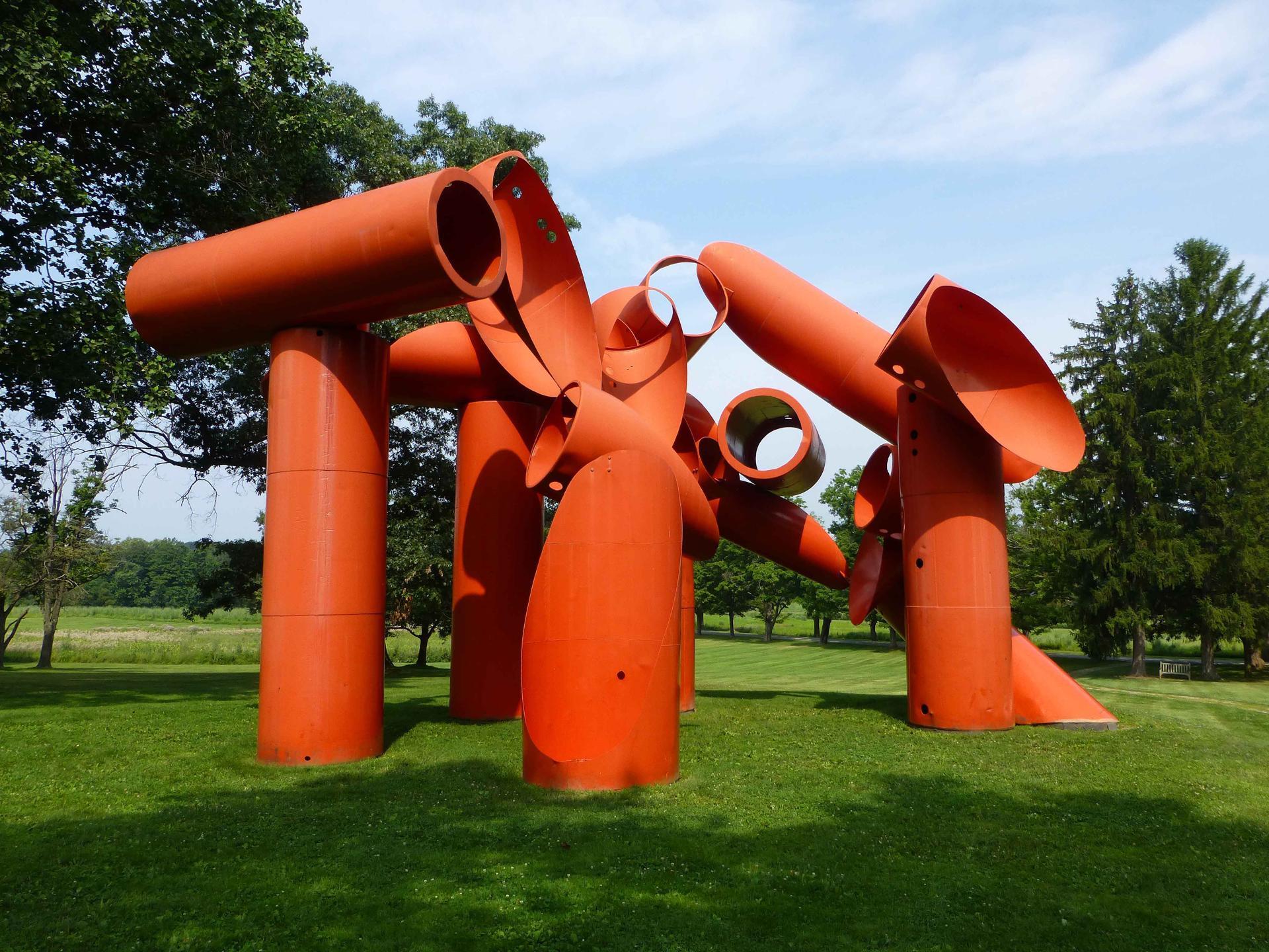 "Alexander Liberman's steel sculpture ""Iliad"" (1974-1976) at Storm King Art Center in New Windsor, N.Y."