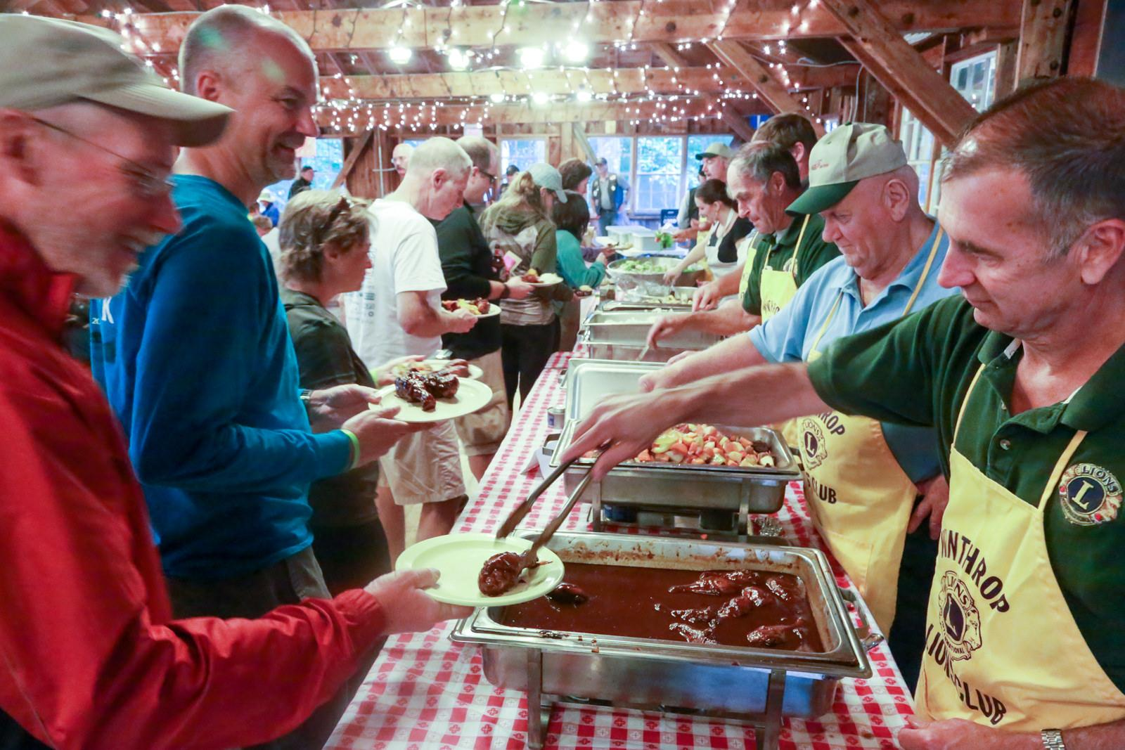 The Bicycle Coaltion of Maine organized Bike Maine's ride, including a stop in Gardiner and a big spread by local cooks.