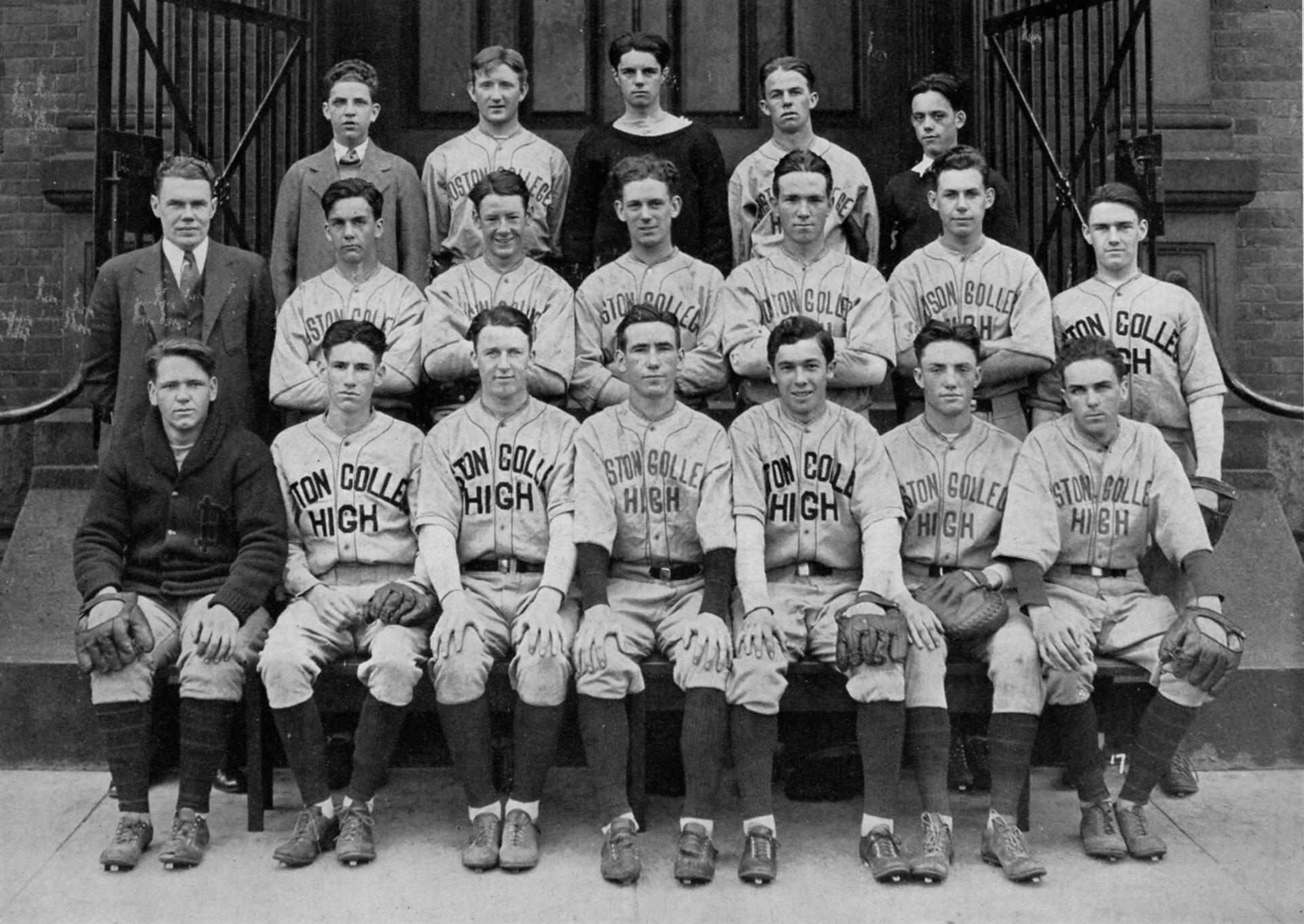 Boston College High School baseball team, 1931. Bill Shaughnessy is in the second row, far right.