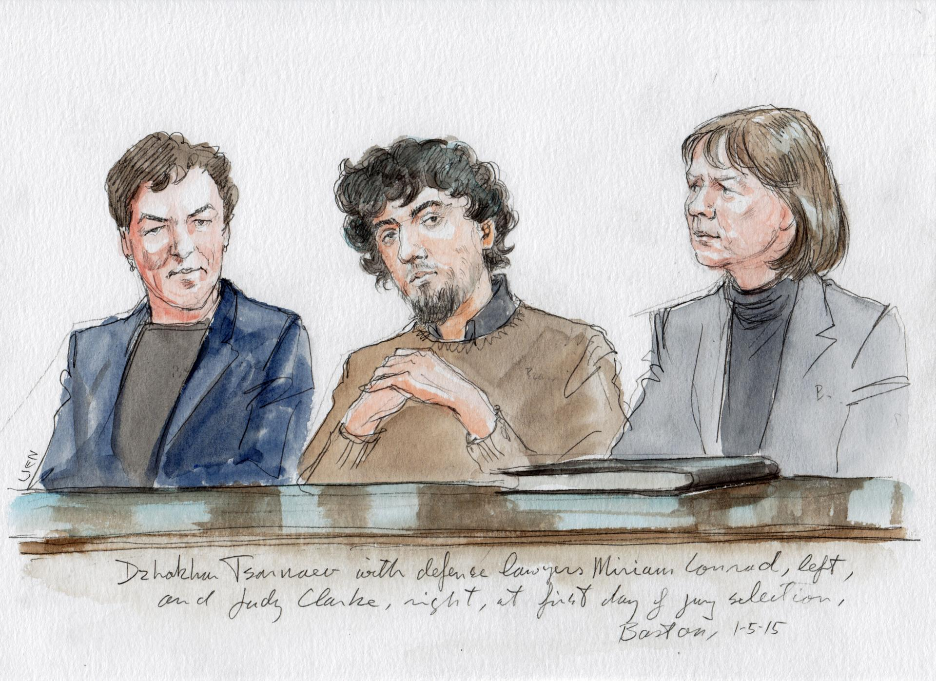 Tsarnaev with his lawyers, Miriam Conrad on left and Judy Clarke on right