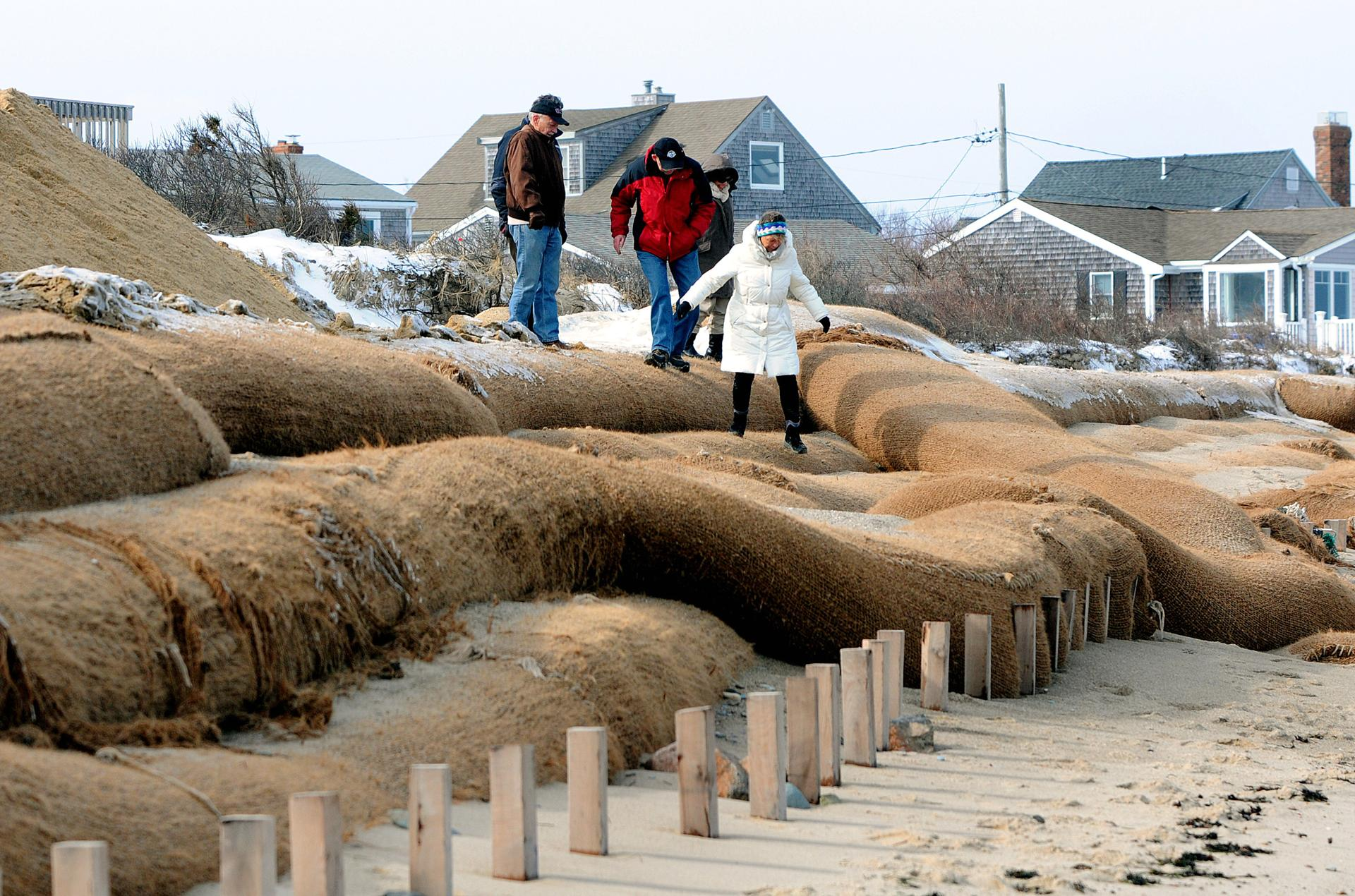 Ralph Hutchins, Bill Boles, Barbara Hutchins, and Cyndy Adamic walked over coir fiber logs in front of a home on Sandwich beach.