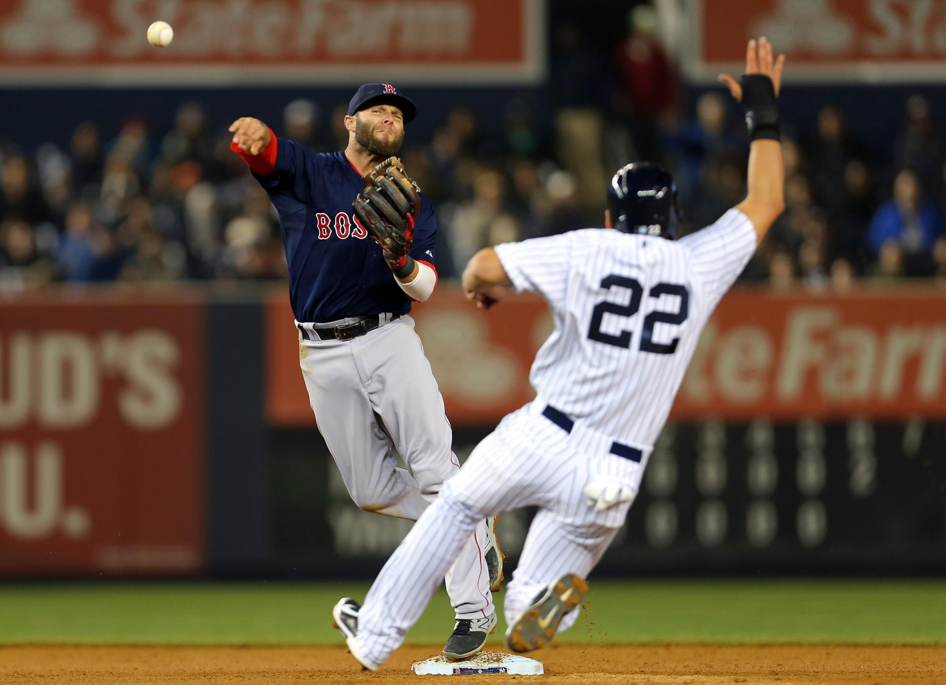 Red Sox second baseman Dustin Pedroia got the force out on Yankees outfielder Jacoby Ellsbury during the sixth inning.
