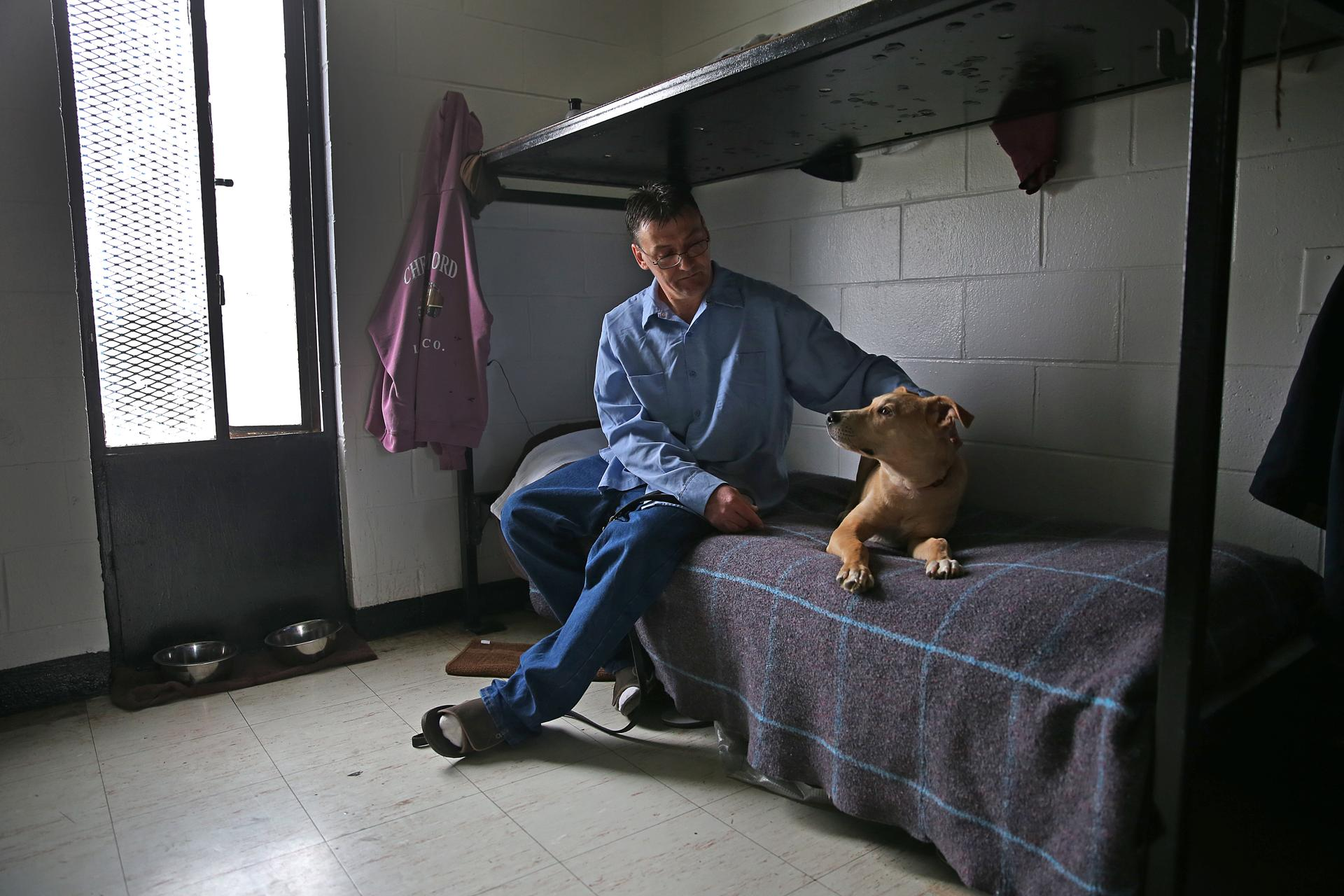 Bobby, an inmate at the Worcester County Jail & House of Correction, shared space on his bunk with Gabe, a shelter dog.