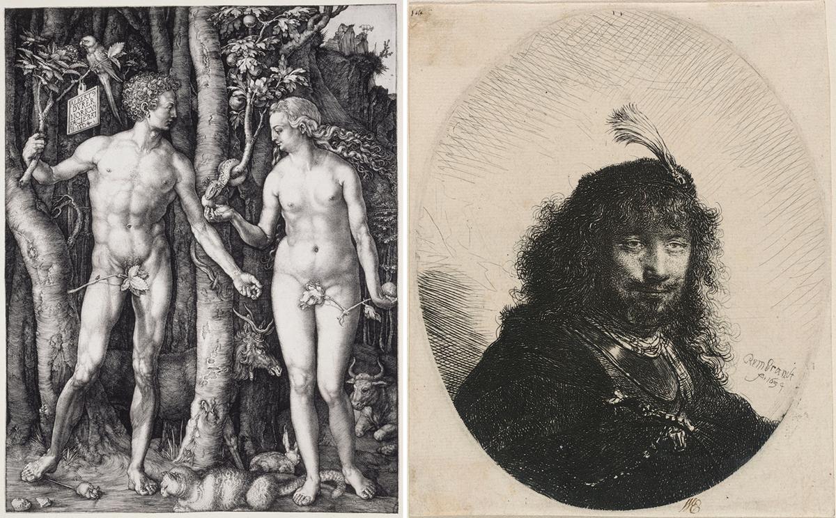 """""""Autorretrato con Emplumada Cap y bajó Sabre"""" de RRembrandt (derecha) es un aguafuerte, Albrecht Dürer de """"Adán y Eva"""" (también conocida como """"La caída del hombre"""") un grabado."""
