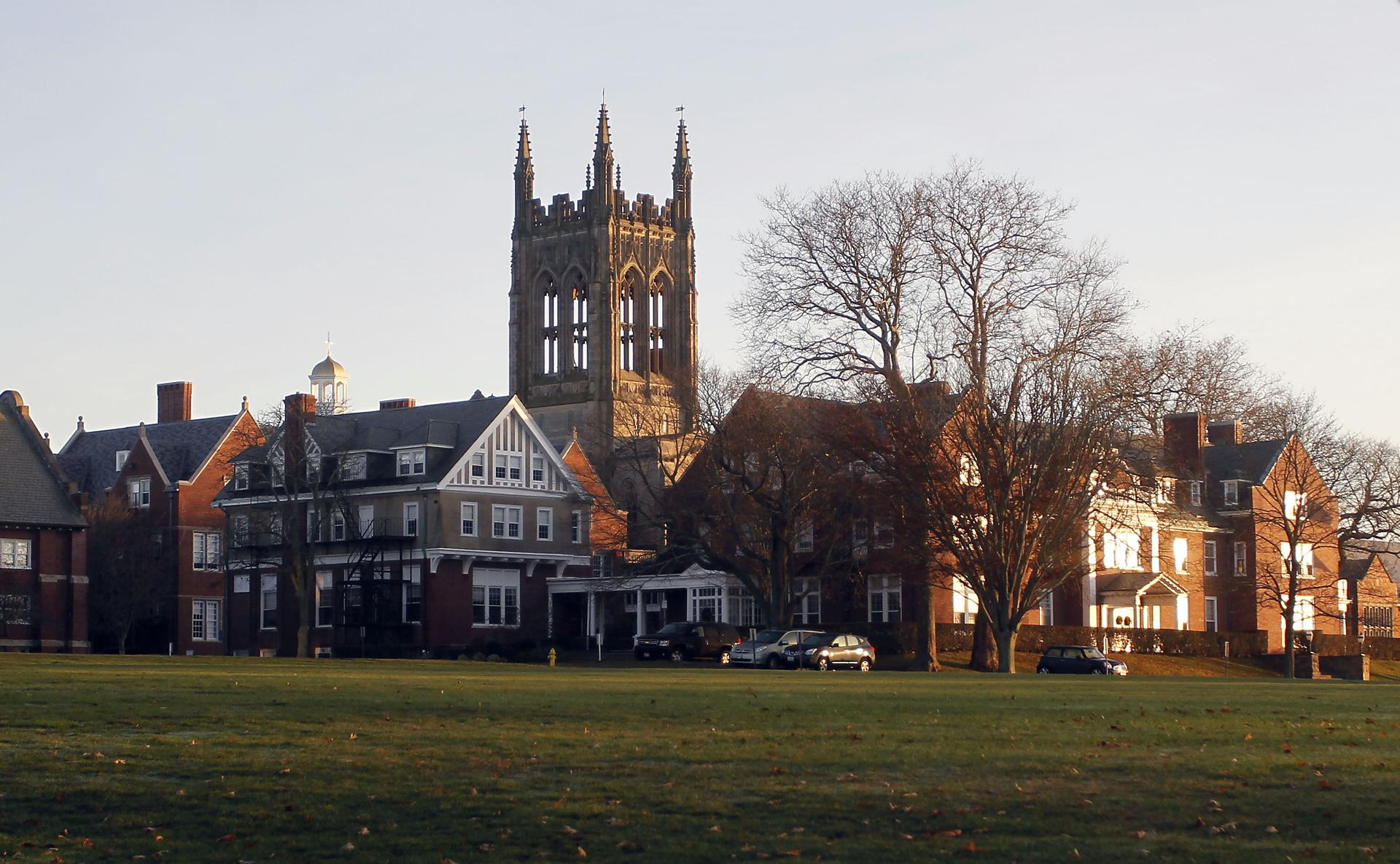A view of the chapel and old school at St. George's School in Middletown, R.I.