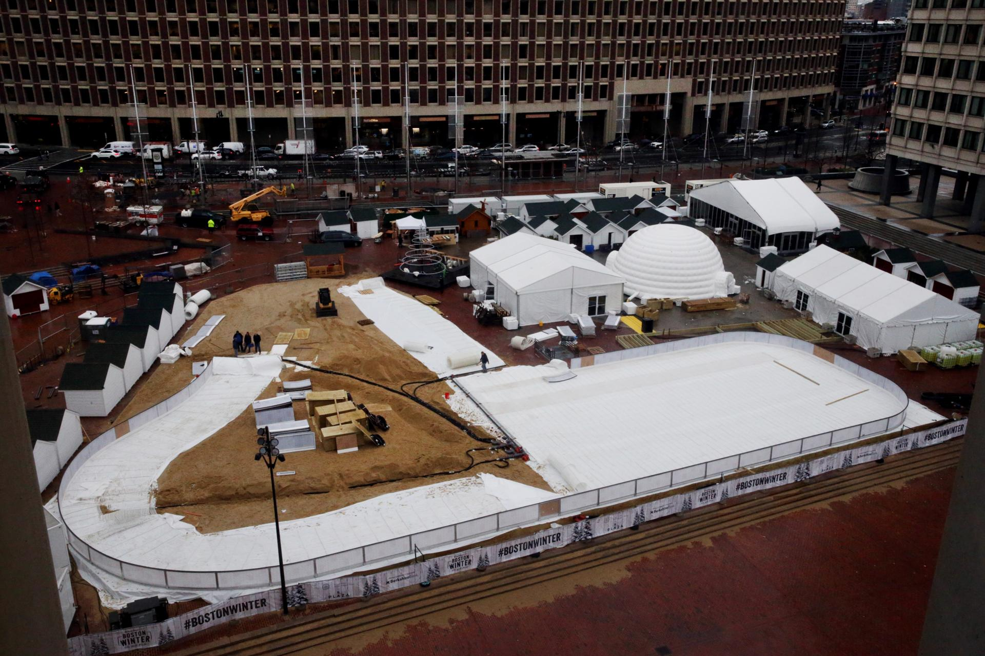 "City Hall Plaza will soon be a winter wonderland, with a giant ice skating loop, ""chalets"" selling ornaments, chocolate fountains, and copious holiday decorations."