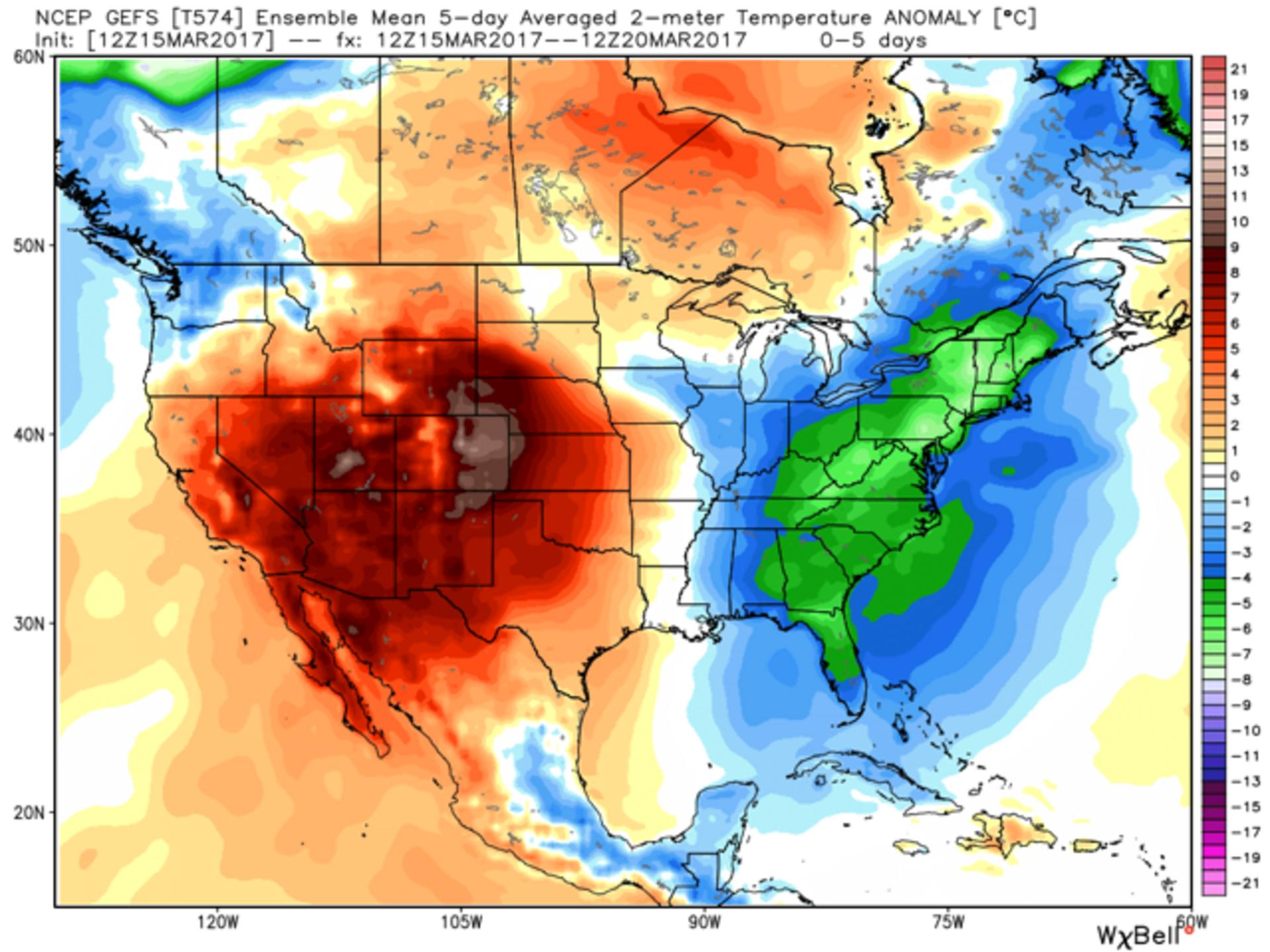 This graphic shows a cold pattern continuing for the eastern US through next week with all the warm air out west.