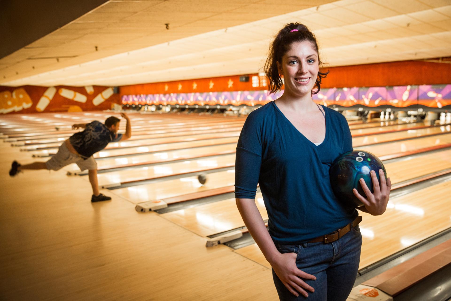 05/21/2017 CAMBRIDGE, MA Allyssia Ashman (cq) of Medford, bowls at Lanes and Games in Cambridge. (Aram Boghosian for The Boston Globe)
