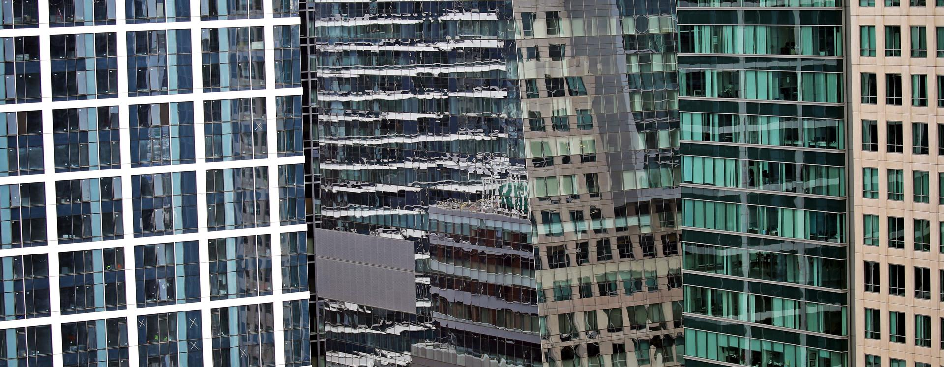 An ever-changing view of windows in the Seaport District.