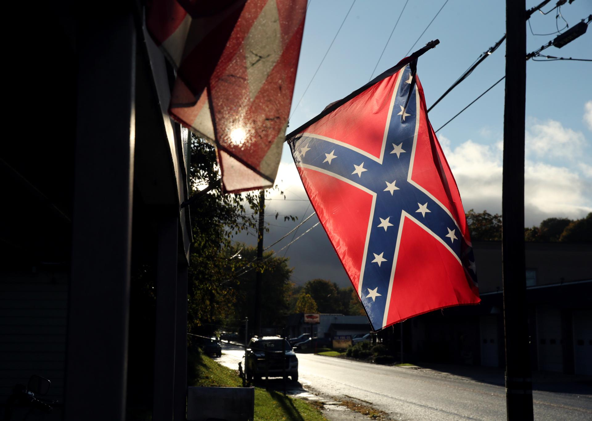 A Confederate flag hung outside a home in Yoe, a borough in York County, Pa.