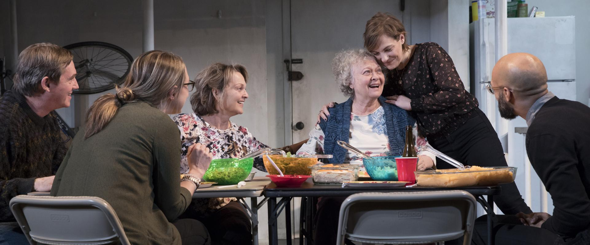 "Richard Thomas, Therese Plaehn, Pamela Reed, Lauren Klein, Daisy Eagan, and Luis Vega in ""The Humans."""