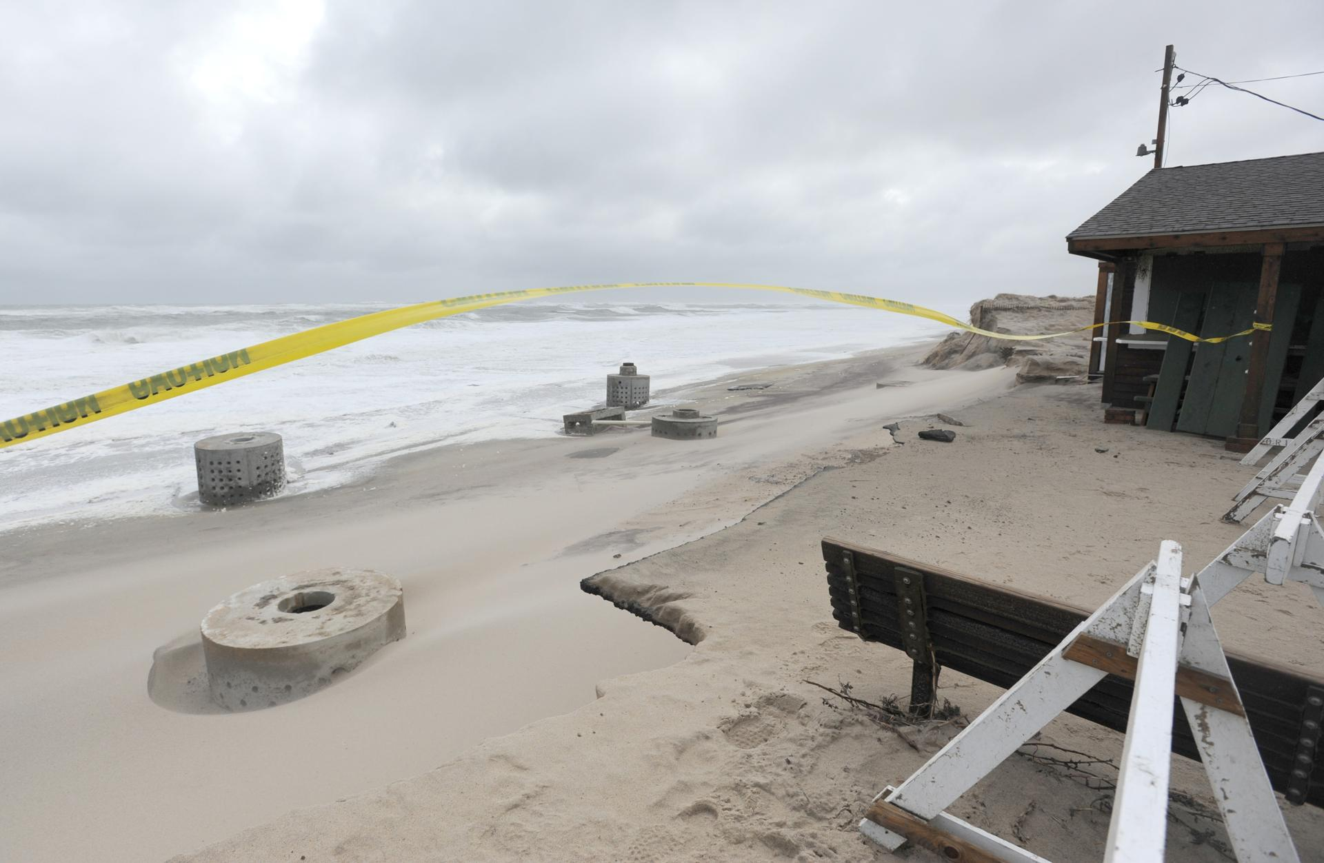 ORLEANS -- 03/05/18 -- Erosion has eaten away at the dune in front of Liam's at Nauset Beach. Town officials will be discussing the future of Liam's at Nauset Beach after the recent storm damaged the dune that the snack shack sits on. Ohman has held the contact with the town to run Liam's since 1990. Merrily Cassidy/Cape Cod Times