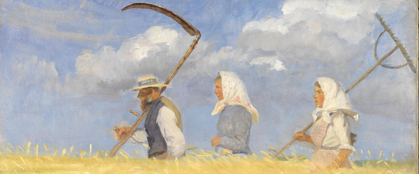 Picture 441 20summerartpicks Women Artists in Paris, 1850-1900 June 9-September 3, 2018. The Clark Art Institute 9. Anna Ancher (Danish, 1859-1935), The Harvesters, 1905. Oil on canvas, 17 1/8 x 22 1/8 in. Art Museums of Skagen, Denmark, SKM1465. Courtesy American Federation of Arts