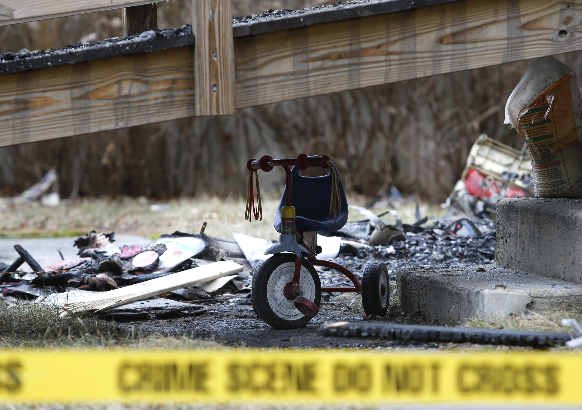 Coventry, Rhode Island -- 1/29/2018 - A child's toy is seen at the scene of a fatal fire where Ed Lorenzen, who was 47 and a longtime veteran of the federal budget process, died in the fire at his Coventry home along with his son, Michael. (Jessica Rinaldi/Globe Staff) Topic: 30coventry Reporter: