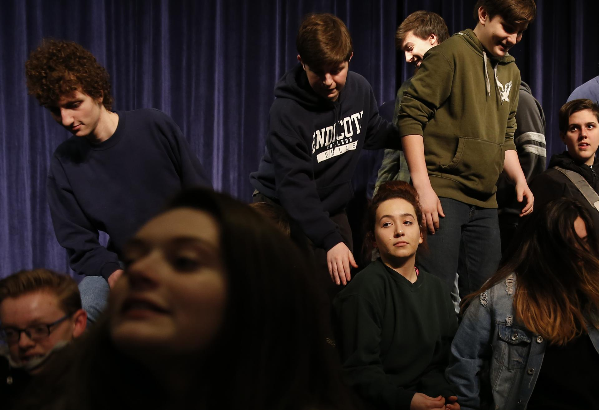 Hamilton, MA -- 3/06/2018 - At the technical rehearsal for semi-finals, Deb and the actors from the Peabody Veterans Memorial High School drama club disbanded after posing for a group photo. (Jessica Rinaldi/Globe Staff) Topic: Reporter: Jenna Russell