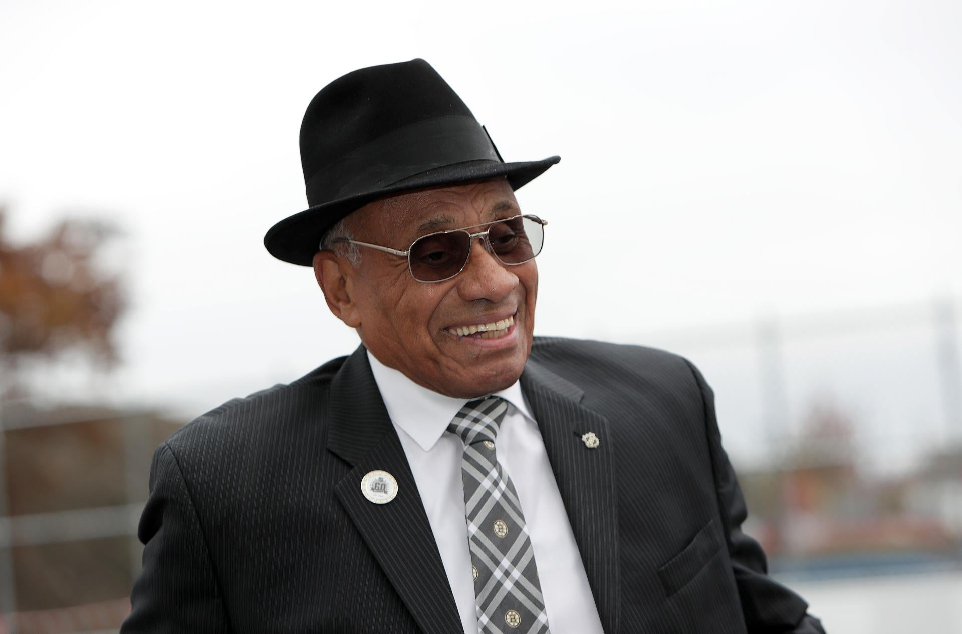 Allston , MA - 11/01/2018 - Willie O'Ree at today's dedication of the new Willie O'Ree street hockey rink at Smith Field in Allston. - (Barry Chin/Globe Staff), Section: Sports, Reporter: Kevin Paul Dupont, Topic: 02Bruins, LOID: 8.4.3691829478.