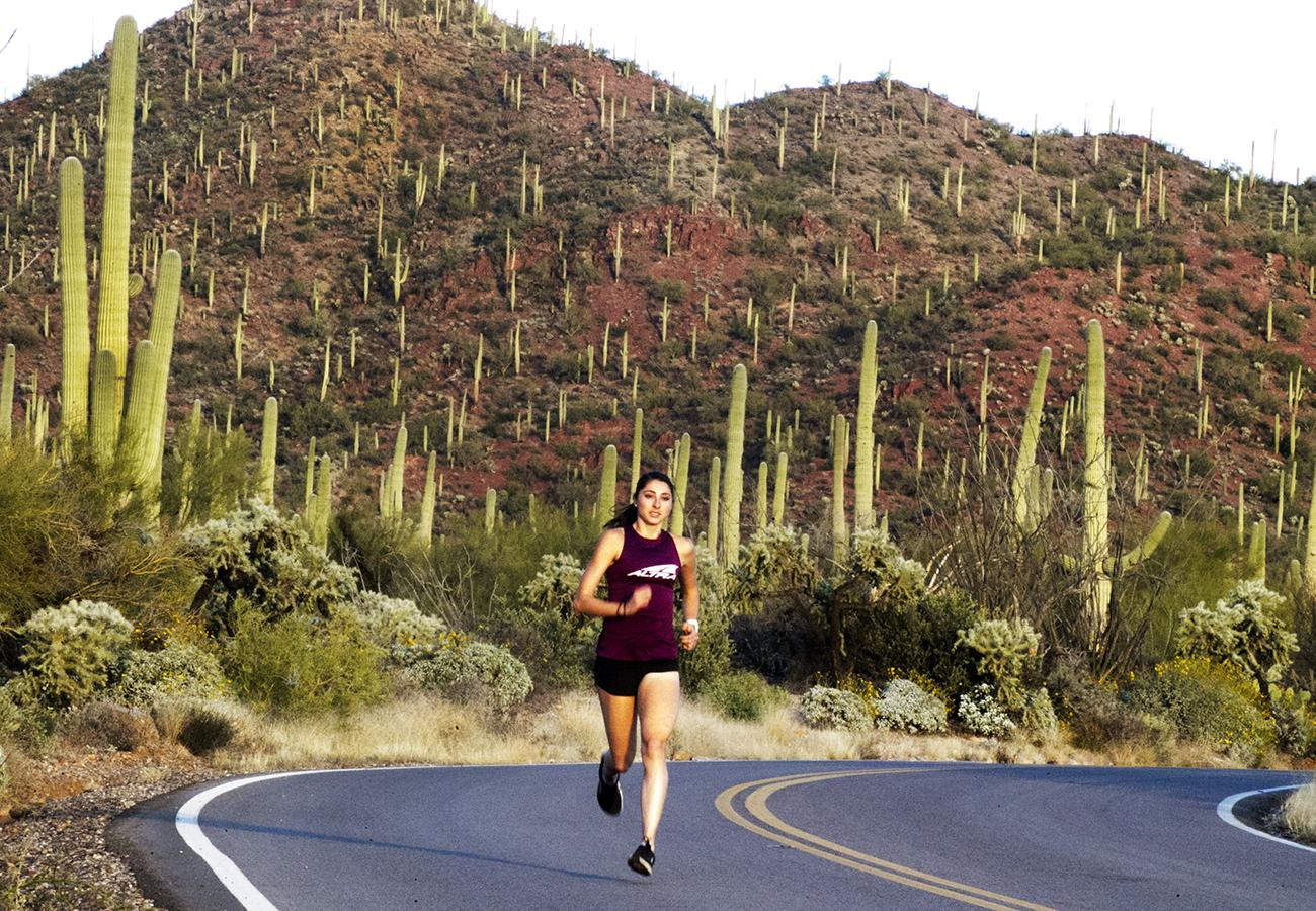 Tucson, AZ-- Jan. 17, 2018-Stan Grossfeld/ Globe Staff--Sarah Sellers, who finished a surprise second place in the women's category of the 2018 Boston Marathon, Here she runs in Sagauro National Park.