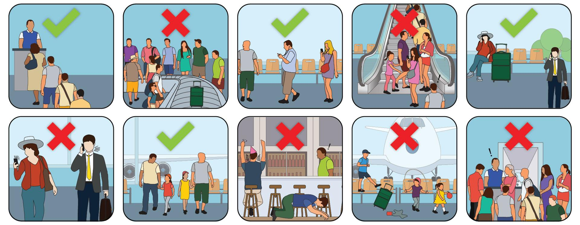 Images in the style of airport safety cards show the dos and don'ts of airport etiquette: people in line to speak with a TSA agent, people talking too loudly on cell phones, people crowding a baggage claim gate, people listening to music on headphones, people falling off chairs at the airport bar, kids making a mess in the waiting area, people blocking an escalator, people crowding the gate.