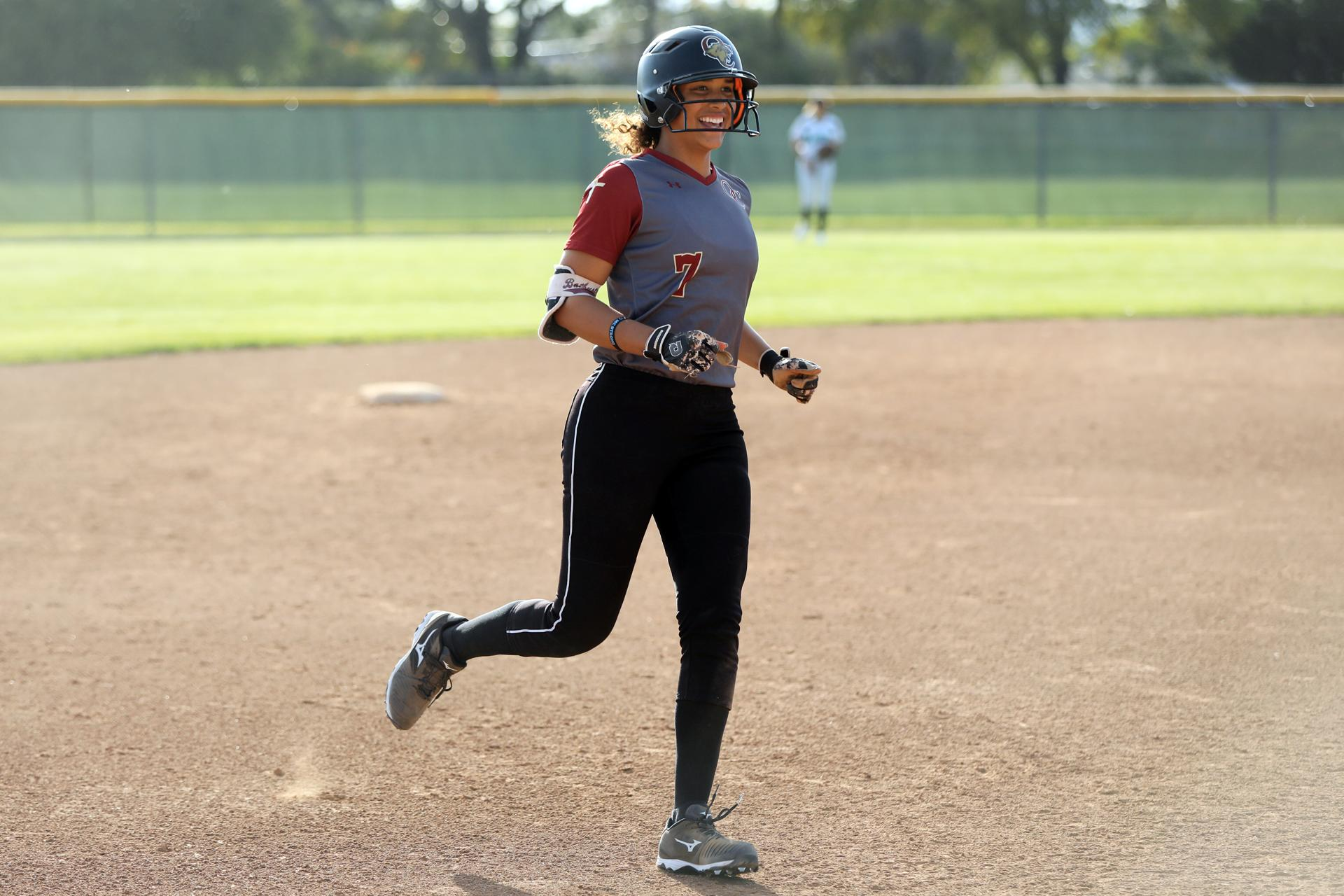 FOR FUTURE TARA SULLIVAN STORY Maya Brady, of Oaks Christian, rounds the bases after hitting a home run during a game against Thousand Oaks High School in Thousand Oaks, Calif. on Tuesday, March 26, 2019. (Matt Sayles for The Boston Globe)
