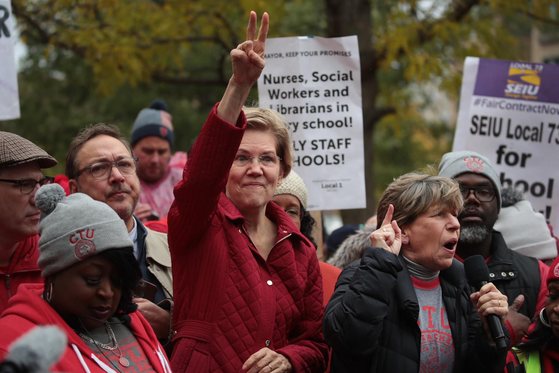 Democratic presidential candidate Elizabeth Warren showed her support for striking Chicago school teachers on Tuesday. The Democratic presidential race seems to be boiling down to a single question.