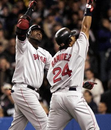 David Ortiz, left, and Manny Ramirez became a most powerful 1-2 punch in the Red Sox' championship lineup.