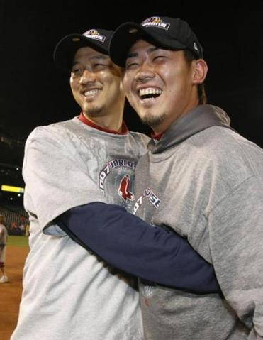 Japanese products Hideki Okajima, left, and Daisuke Matsuzaka won the World Series in their first year with the Red Sox.