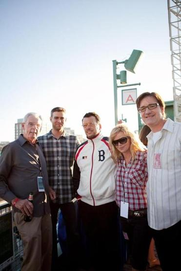 Peter Gammons, left, with Theo Epstein, second from left, is promoting his Hot Stove, Cool Music fundraiser.