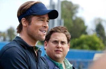 "In this image released by Sony Pictures, Brad Pitt, left, and Jonah Hill are shown in a scene from ""Moneyball."" (AP Photo/Columbia Pictures-Sony, Melinda Sue Gordon)"