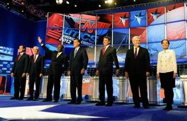 Rick Santorum, Representative Ron Paul, Herman Cain, Mitt Romney, Rick Perry, Newt Gingrich, and Representative Michele Bachmann engaged in their fifth debate since Labor Day last night.