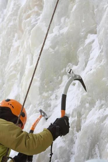 for Travel - 29icefest - Secure ice tool placements are essential for safe and successful ice climbing. (Dominic Casserly)