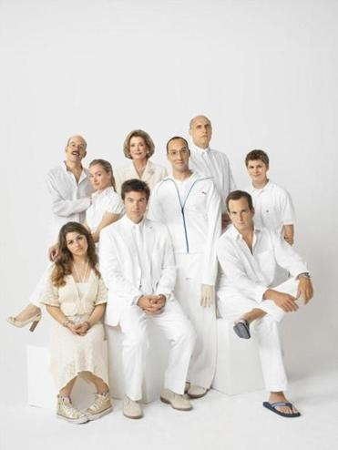 From left to right: David Cross, Portia de Rossi, Jessica Walter, Jeffrey Tambor, Michael Cera, Will Arnett, Tony Hale, Jason Bateman, Alia Shawkat.