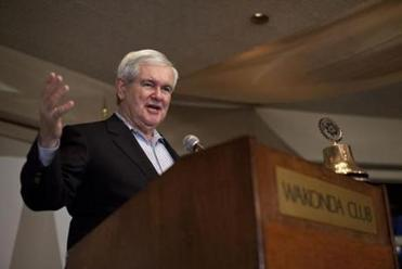 Newt Gingrich spoke at the Wakonda Club in Des Moines. He often references conservative minutiae.