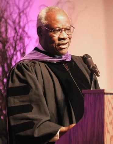 Clarence Thomas spoke at the College of the Holy Cross on Jan. 26, 2012, when he was awarded an honorary degree.