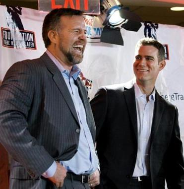 Former Red Sox first baseman Sean Casey, left, and Chicago Cubs President Theo Epstein shared a laugh during a charity event for underprivileged children at Fenway Park yesterday.