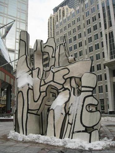 "The ""Monument with Standing Beast"" sculpture by Jean Dubuffet was unveiled in 1984."
