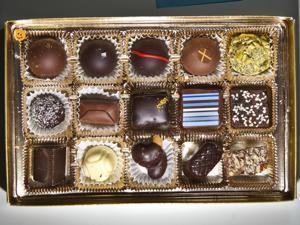 02/01/2012 WATERTOWN, MA A box of Chocolate Therapy chocolates photographed at reporter Sheryl Julian's home in Watertown. (Aram Boghosian for The Boston Globe)