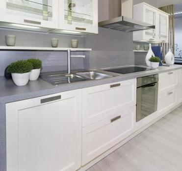 Full frame of simple white modern kitchen