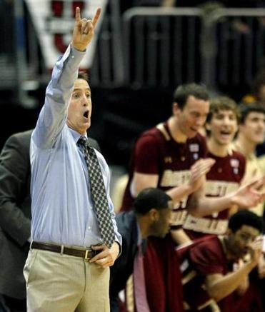 Boston College coach Steve Donahue, left, has a team with nine freshmen on its roster.