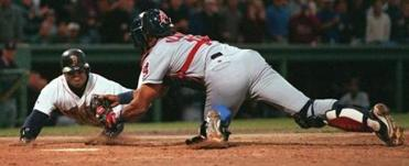 John Valentin was thrown out at the plate in the sixth inning.