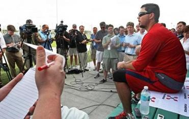 Josh Beckett offered no apology for the chicken and beer episode when he arrived in spring training.