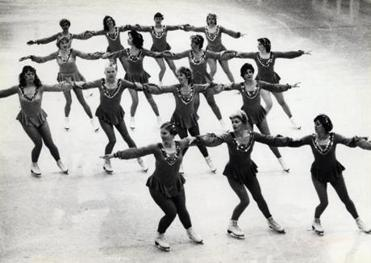 In earlier days, a precision skating team graced the ice in rows.